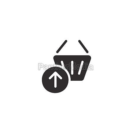 shopping basket up arrow isolated icon
