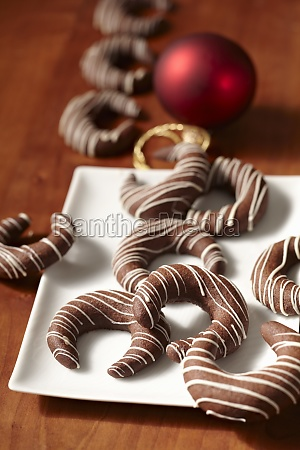 coffee kipferl biscuits with chocolate and