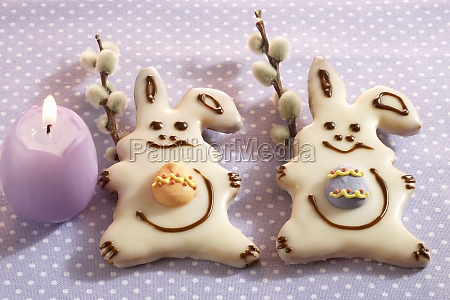 small iced easter bunny cookies with