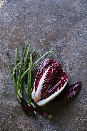 red onions red cabbage on a