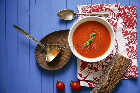 tomato soup with basil and rye