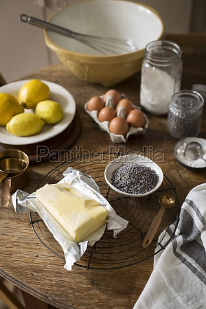 various baking ingredients in a kitchen
