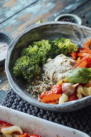 roasted paprika broccoli quinoa and hummus