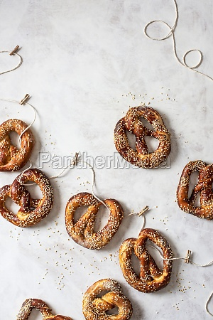 homemade pretzels with seasme seeds on