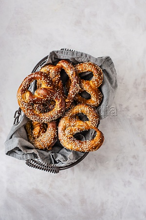 homemade pretzels with seasme seeds in
