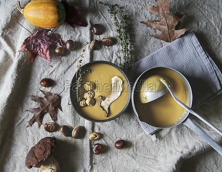 pumpkin cream soup with sweet chestnuts