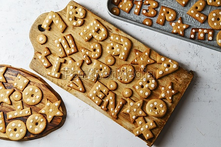 gingerbread cookies in alphabet and number