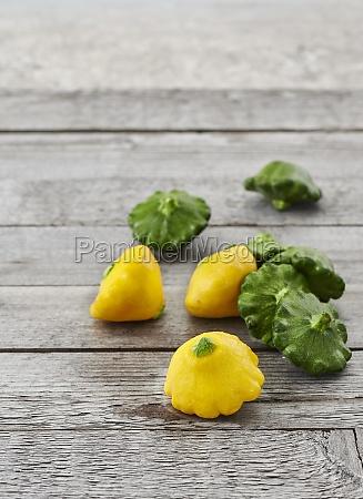 mini yellow and green patty pan