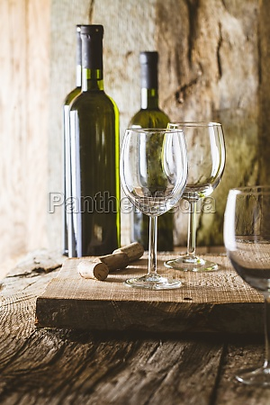 glass of white wine in wine