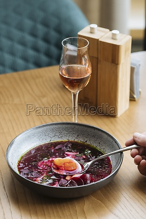 beetroot soup and a glass of