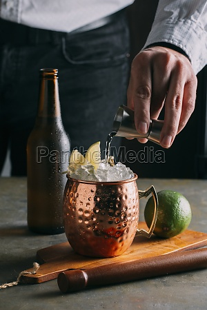 moscow mule cocktail with vodka ginger