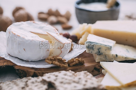 cheese plate with nuts grapes and