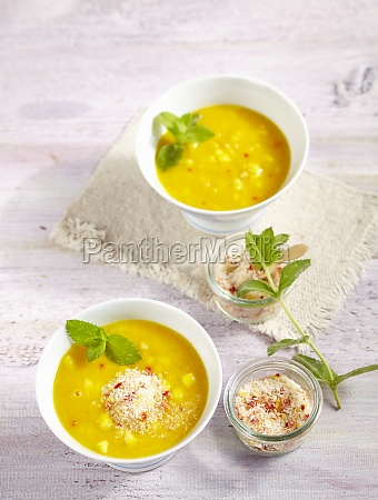 yellow lentil and pineapple soup with