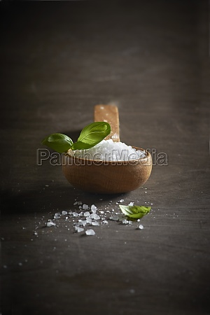 coarse sea salt with a wooden