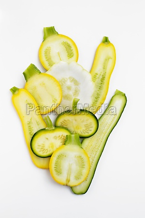 various types of zucchini sliced