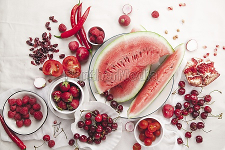 red fruit and vegetable composition on