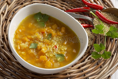 amaranth and millet soup with pumpkin