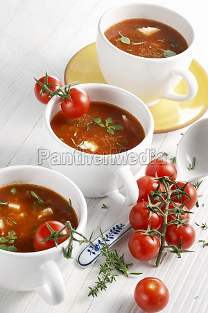 vegetarian tomato soup with amaranth and