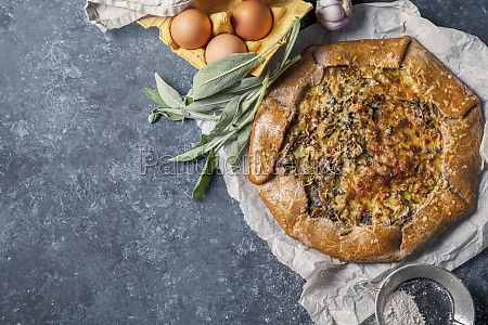 french styled leek and onion galette