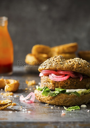 veggie vegan burger made with cauliflower