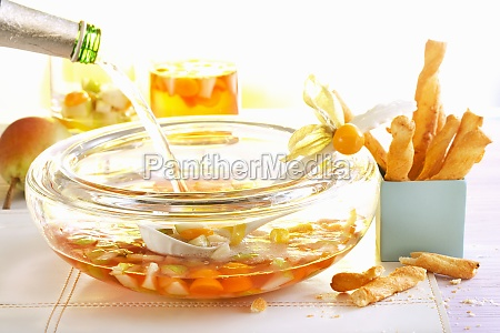 pear punch with physalis served with