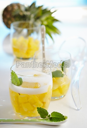 non alcoholic pineapple punch in glasses