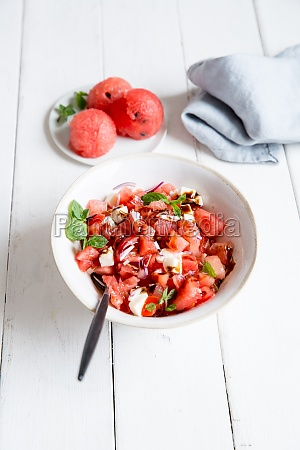 serving of watermelon and feta cheese