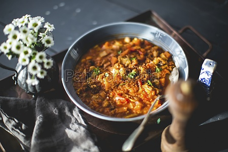italian stew with chickpreas beans and