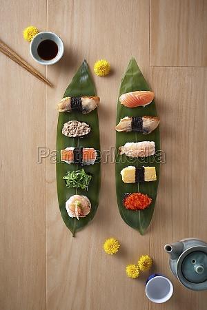sushi platter served on sasa leaves
