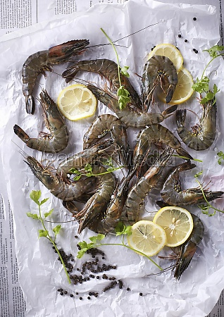 fresh tiger prawns and lemon slices