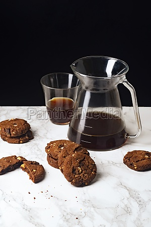 a pile of chocolate cookies with