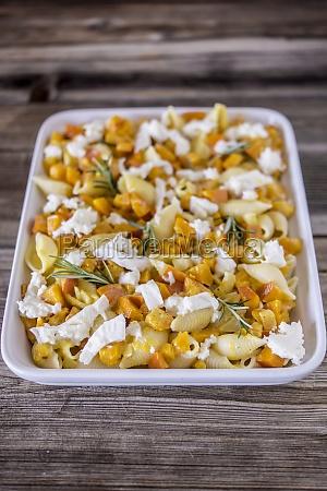 conchiglie rigate with hokkaido pumpkin mozzarella