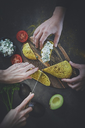 avocado and turmeric bread with feta