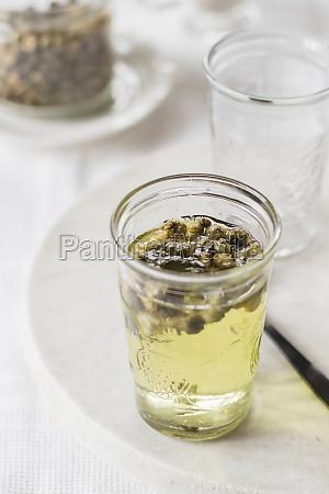 chrysanthemum tea in glass on white