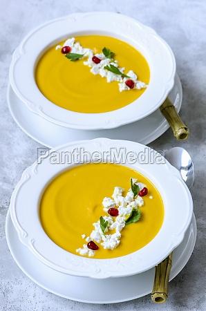 pumpkin cream soup with feta parsley