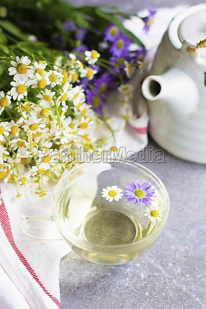 chamomile tea in a glass cup
