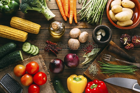 vegetable still life with corn cobs