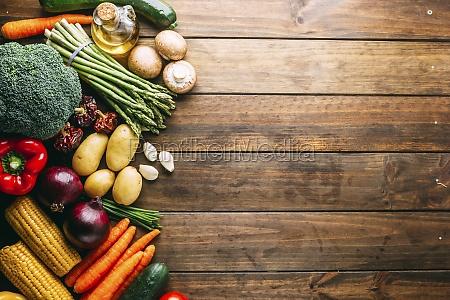 set of assorted fresh vegetables lying