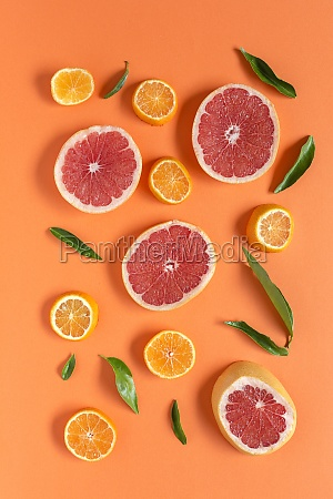 tangerine and grapefruit slices on orange