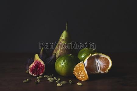 tasty fresh peeled tangerines fig pear