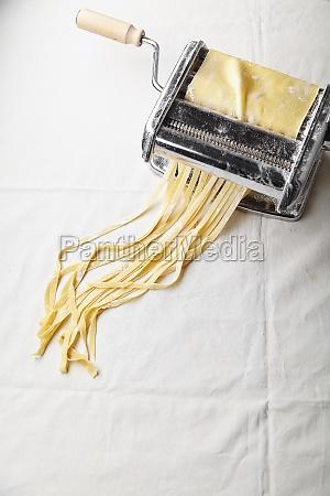 fresh pasta in a pasta maker