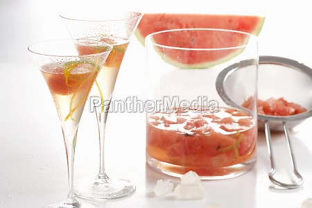 homemade liqueur made with watermelon lime