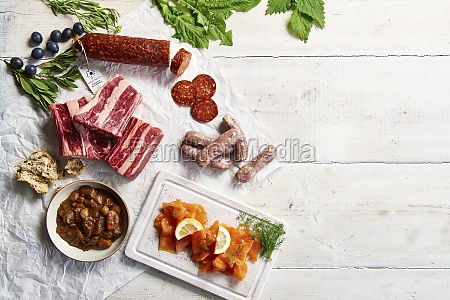 mixture of raw meat cured sausage