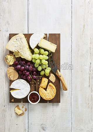 selection of soft cheeses with biscuits