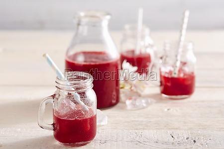 homemade sour cherry liqueur in a
