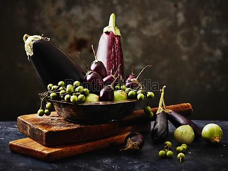 still life arrangement of aubergines