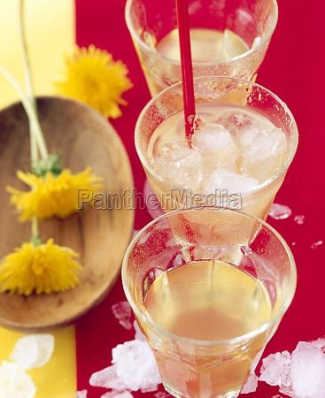 homemade dandelion blossom liqueur with fresh