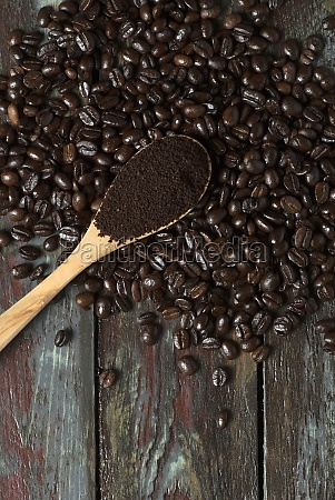 roasted and ground coffee beans