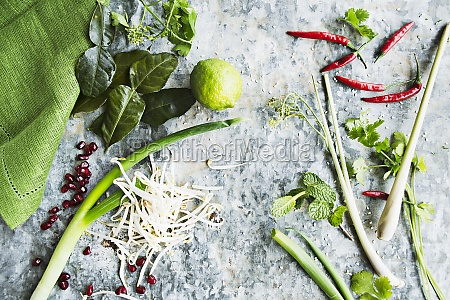 herbs and ingredients for oriental cuisine