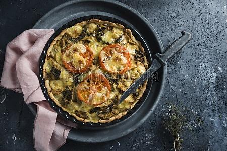 vegan savoy cabbage quiche gratinated with